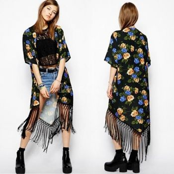 Hot Summer Vintage Women Ethnic Floral Tassel Loose Kimono ...
