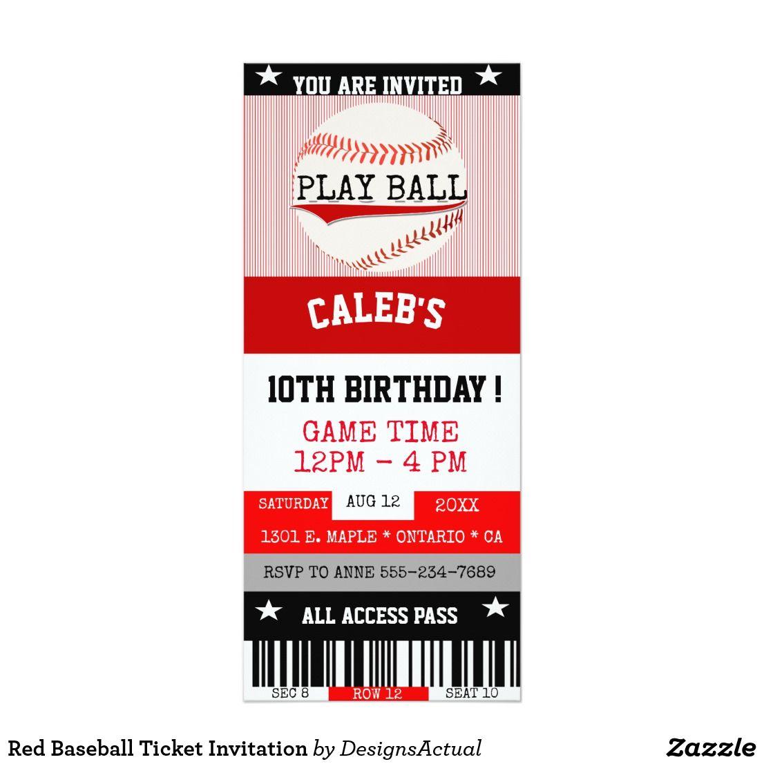 Red Baseball Ticket Invitation Baseball ticket birthday invitation ...