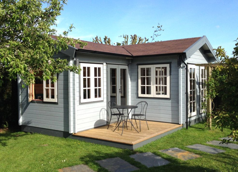 L shaped garden room with traditional georgian style for L shaped shed designs