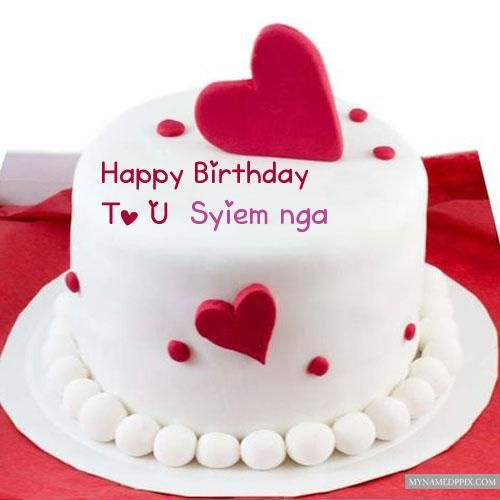 Red Velvet Heart Birthday Cake Name Wishes Pictures