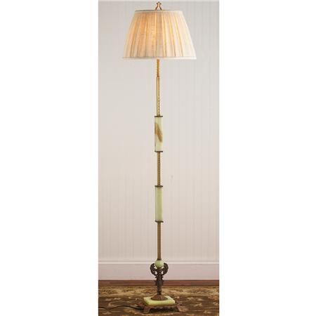 Antique Green Onyx And Brass Iron Floor Lamp Floor Lamp