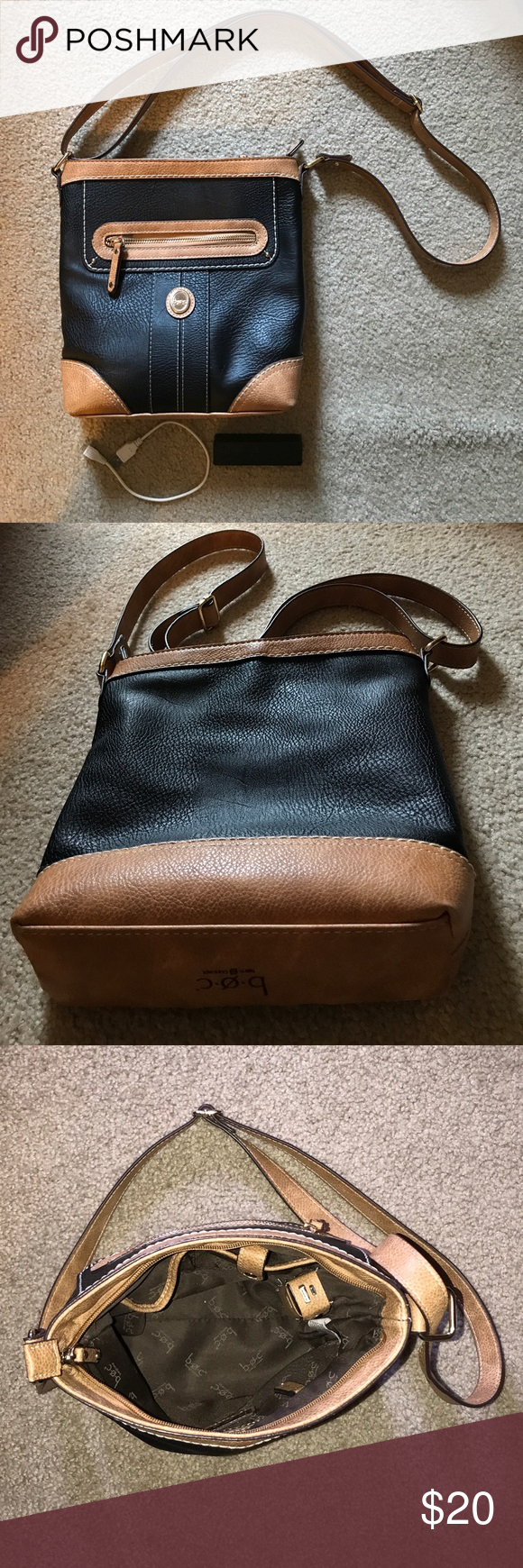 BOC crossbody bag, black/tan, comes w/power bank BOC vinyl