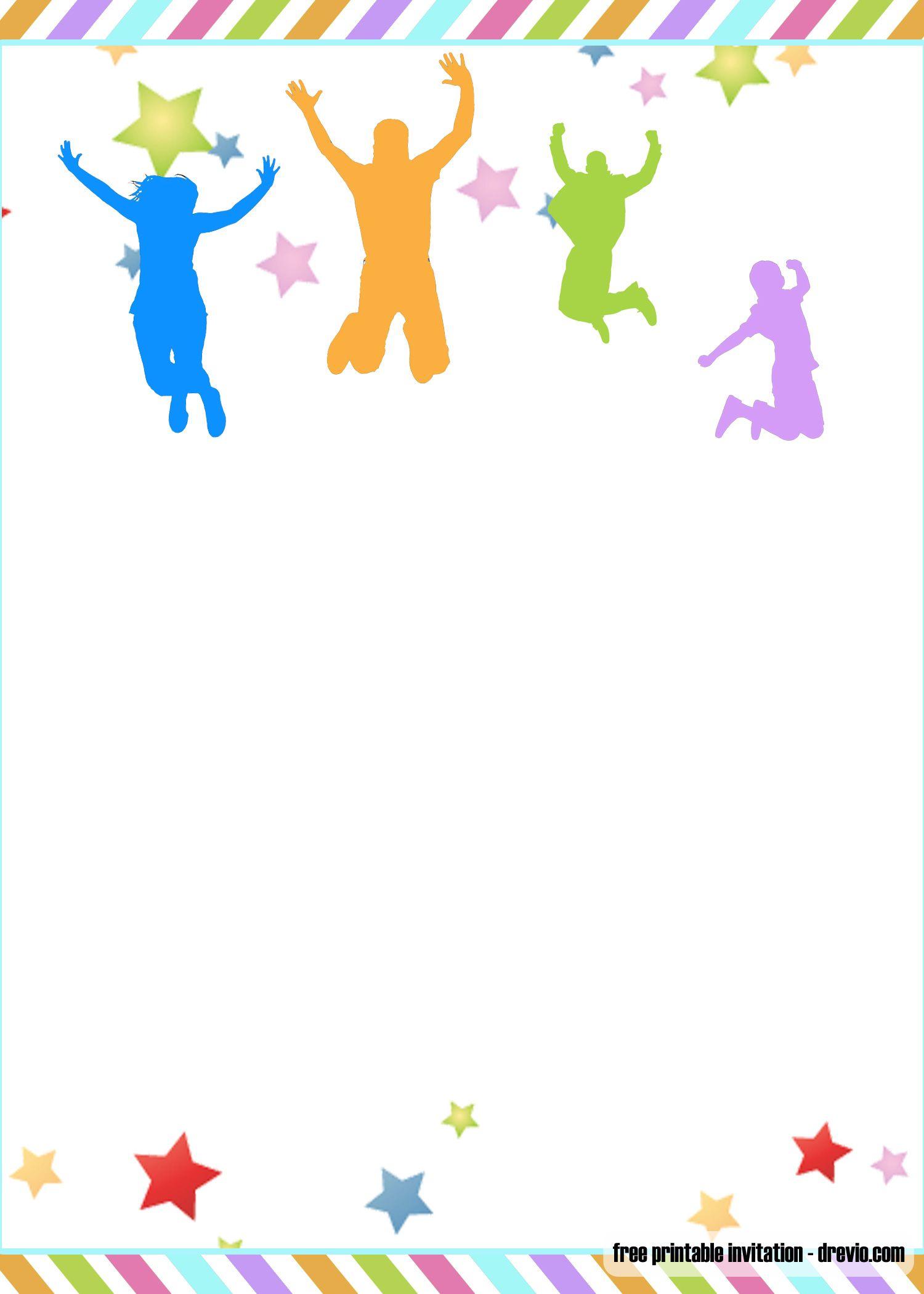 Free Printable Trampoline Jump Birthday Invitation Template Trampoline Birthday Invitations Printable Birthday Invitations Birthday Party Invitations Printable