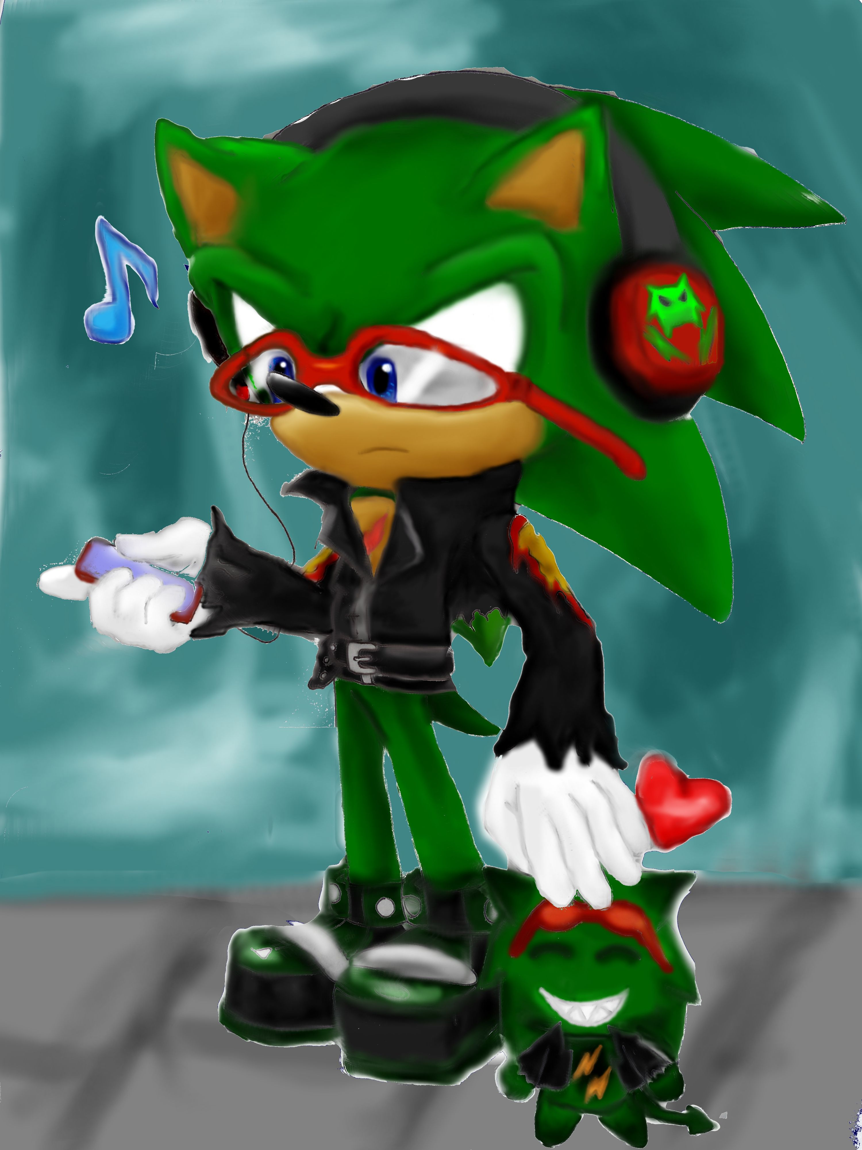 Scourge The Hedgehog And His Chao Listening To Music With His Headphones Sonic The Hedgehog S Evil Twin From Another Dimension