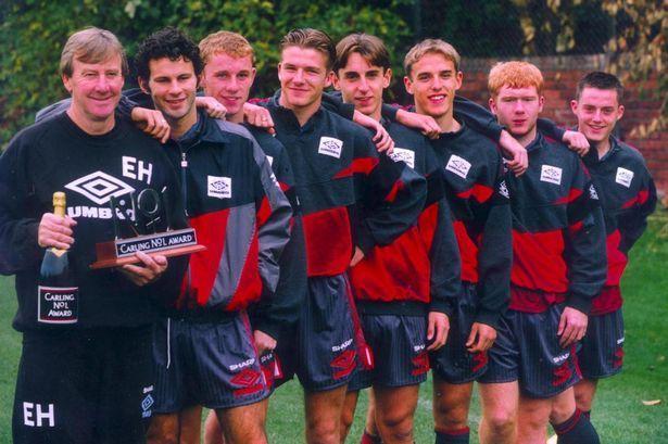 Class of '92: Giggs, Butt, Beckham, G Neville, P Neville, Scholes and, err, Terry Cooke