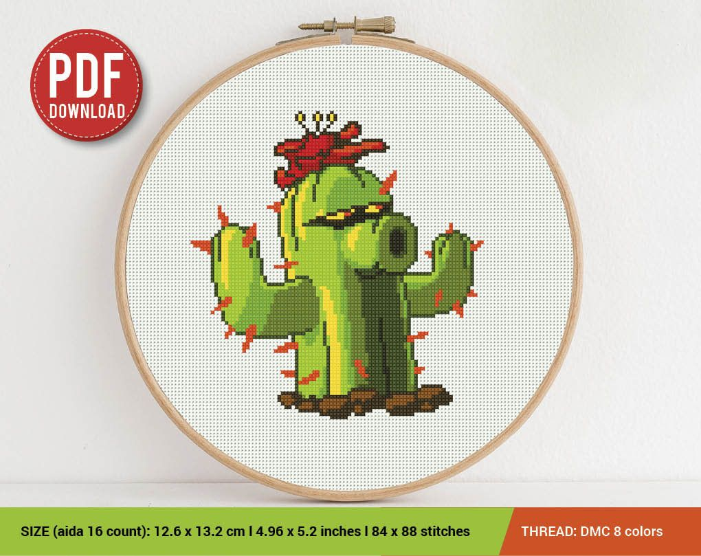Cactus Cross stitch pattern Embroidery Pattern Instant