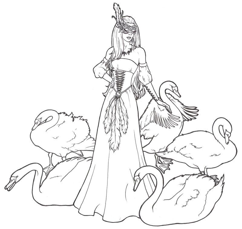 Spirit Of Swan Lake By Requay On Deviantart Bird Coloring Pages Swan Lake Grayscale Image
