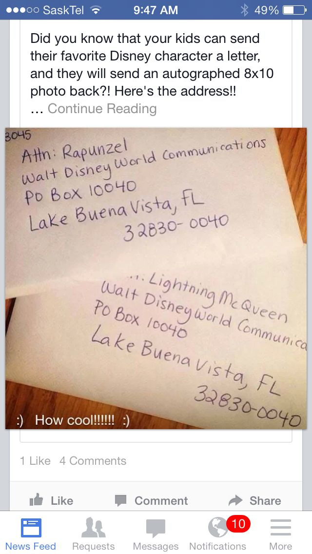 Disney characters wrote back!