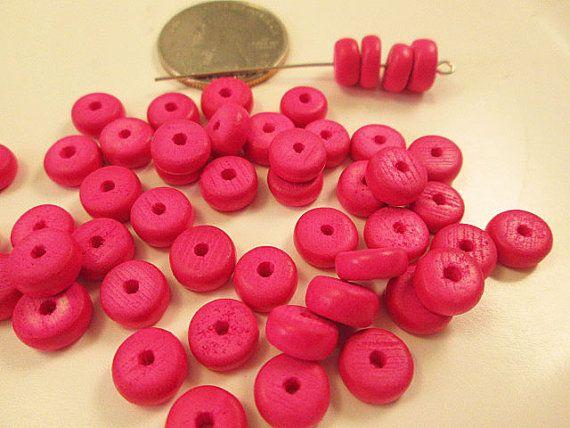 Wood Beads Hot Pink Wood Beads Lightweight Wood by FLcowgirls #beadsupplies