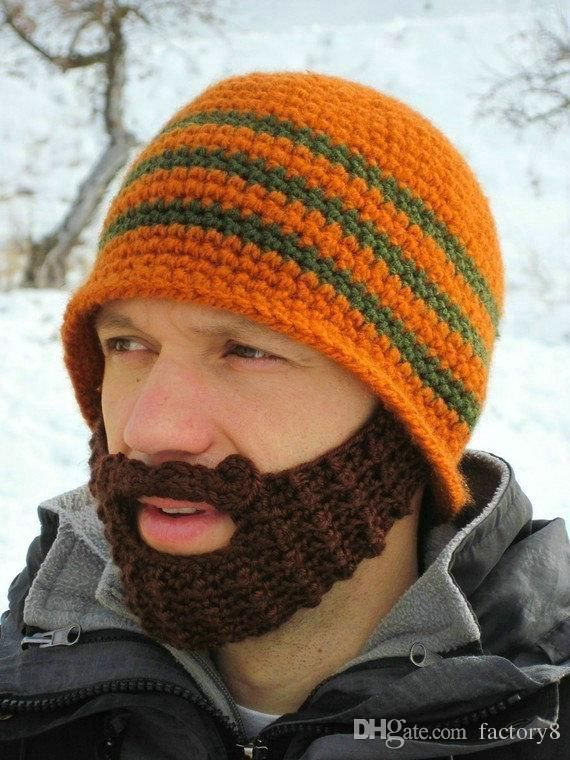 f8615913517 Handmade Knitted Crochet Beard Hat balaclava Winter for Men Warm Bicycle  Mask Ski Cap Roman knight Octopus Cool Funny Beanies Promotion