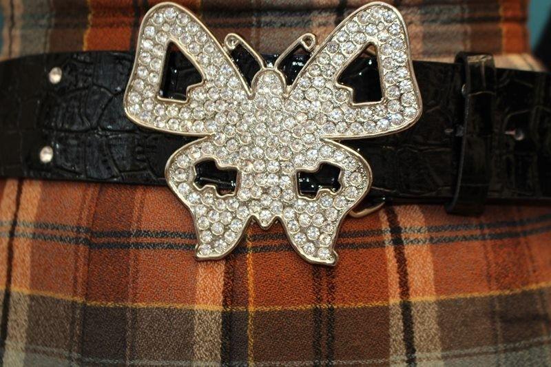 ceintures noir strass argente papillon TU simili cuir hippie chic