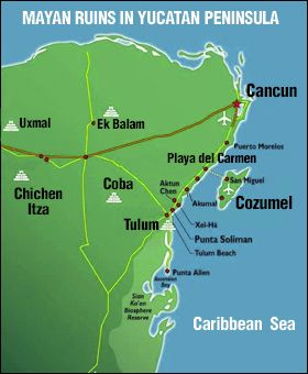 map of mayan ruins in yucatan peninsula