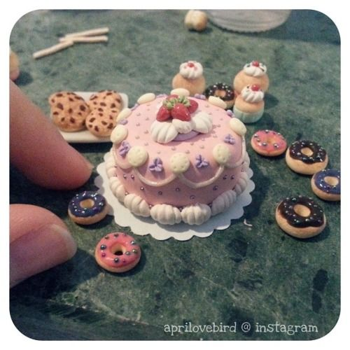 aprils-petite-sweets: The mini cake I made for the bakery display, took me quite some time! Simply decorating it took about two hours and with lots of patience! If I made cakes like this to sell in my shop would anyone be interested? ♡#miniature #polymerclay #cute #tiny #cake #teaspoonofsugar #lotsofpatience