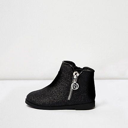 Mini girls black glitter ankle boots