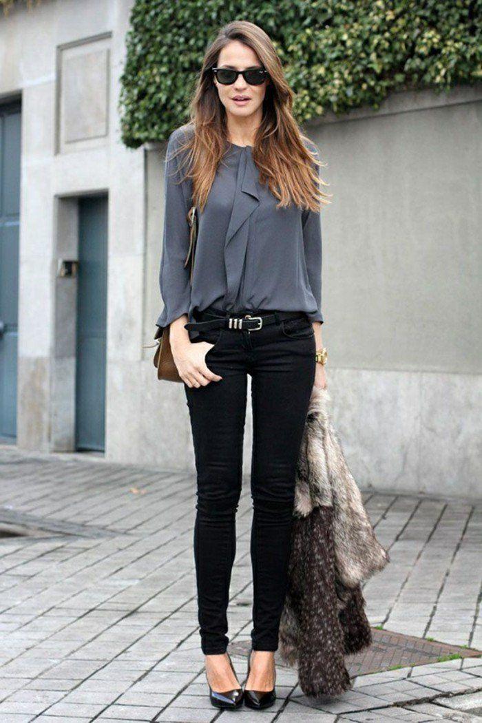 1001 id es pour une tenue vestimentaire au travail c 39 simple pinterest chemise grise. Black Bedroom Furniture Sets. Home Design Ideas