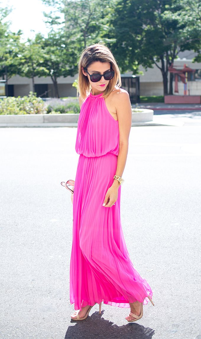 Pink Pleated Maxi What To Wear To A Day Wedding Hello Fashion Pink Pleated Dress Hot Pink Maxi Dress Fashion