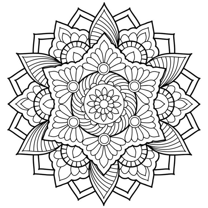 Un Dessin Anti Stress A Colorer Representant Mandala Floral Dune Grande Complexite