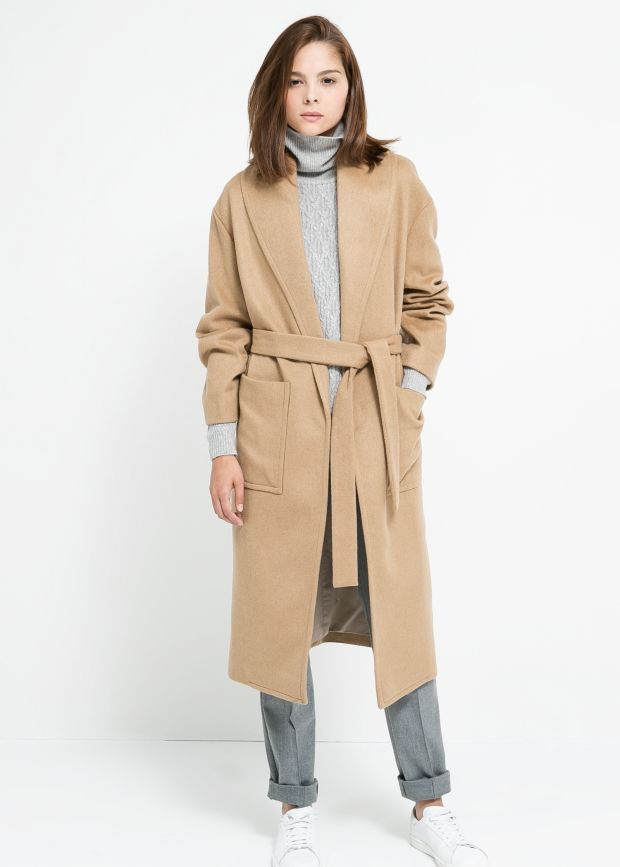 A camel wrap coat from Mango.