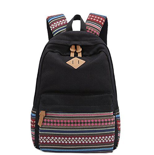 Unisex Fashionable Canvas Zip Bohemia Boho Style Backpack School ...