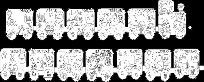 Il Treno Dei Mesi Da Colorare Calendari Preschool