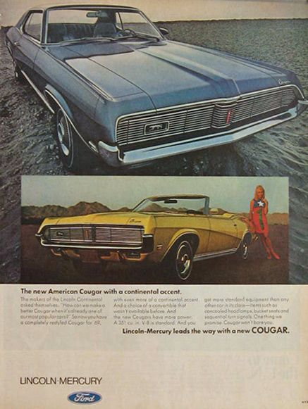 1969 car advertisement   ads vintage ford ads 1969 mercury cougar ad     1969 car advertisement   ads vintage ford ads 1969 mercury cougar ad  continental accent