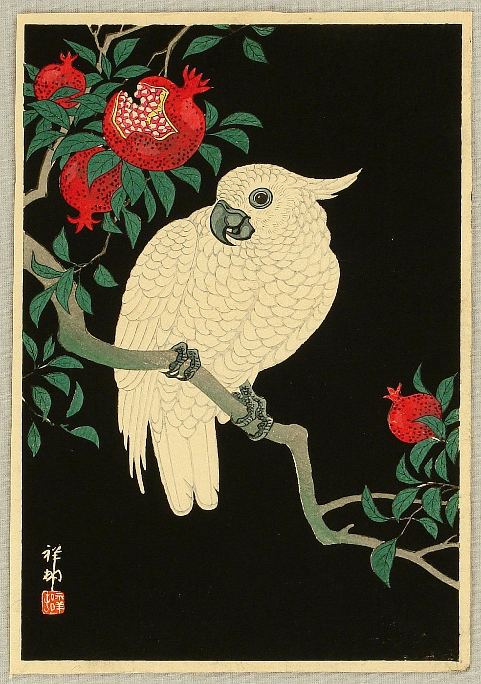 Ohara Koson (1877-1945) | Cockatoo and Pomegranate ca  1930s