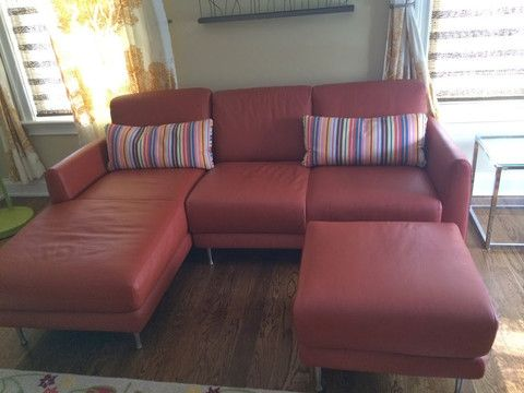 Best Burnt Orange Leather Sofa From Ikea W Brushed Chrome Legs 400 x 300