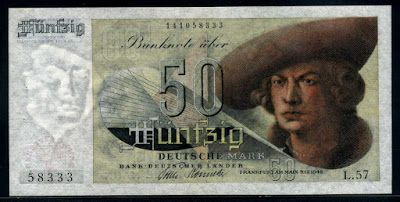 Currency of Germany 50 Deutsche Mark banknote of 1948