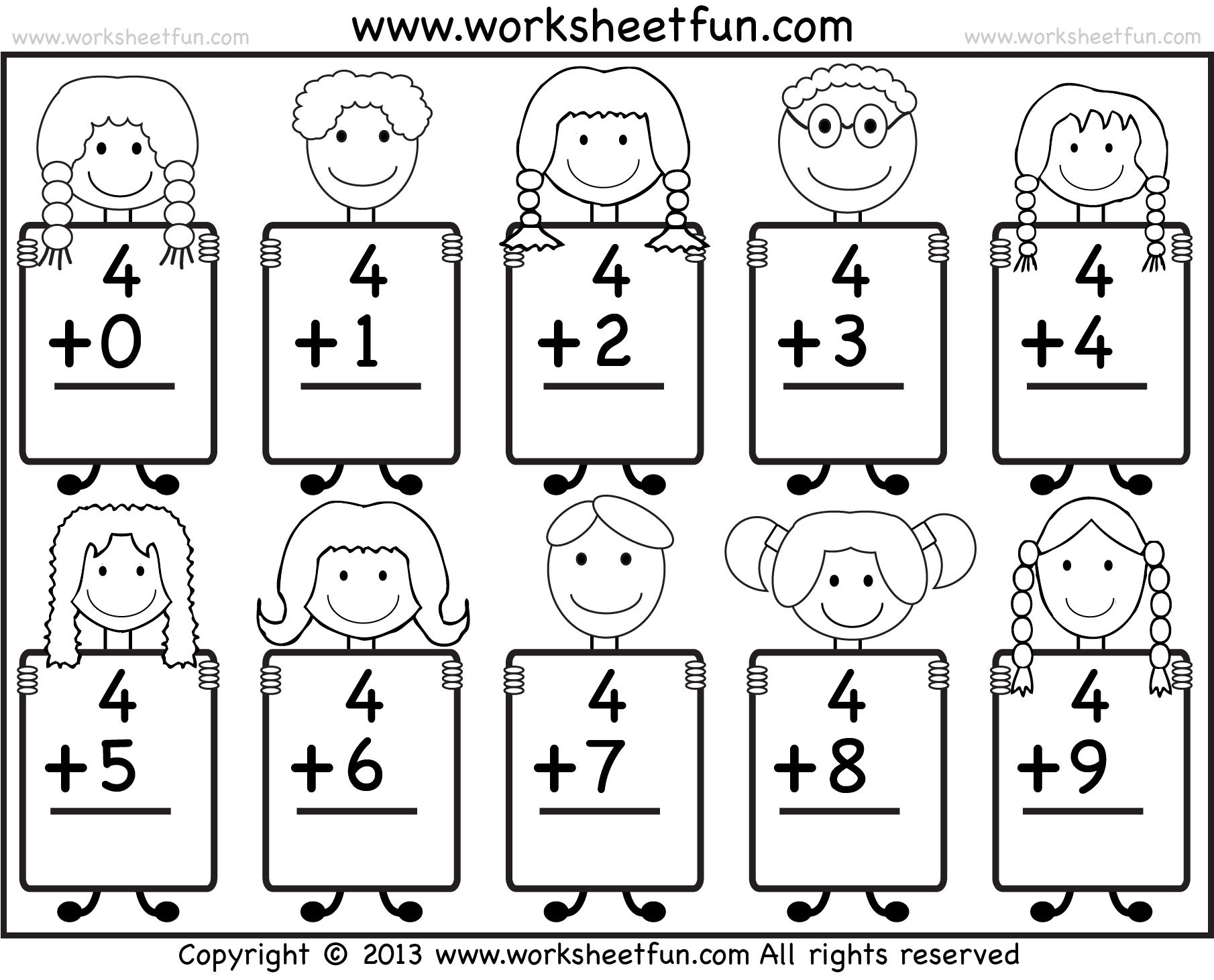 Beginner Addition Basic Addition facts 9 Kindergarten Addition – Free Printable Math Facts Worksheets