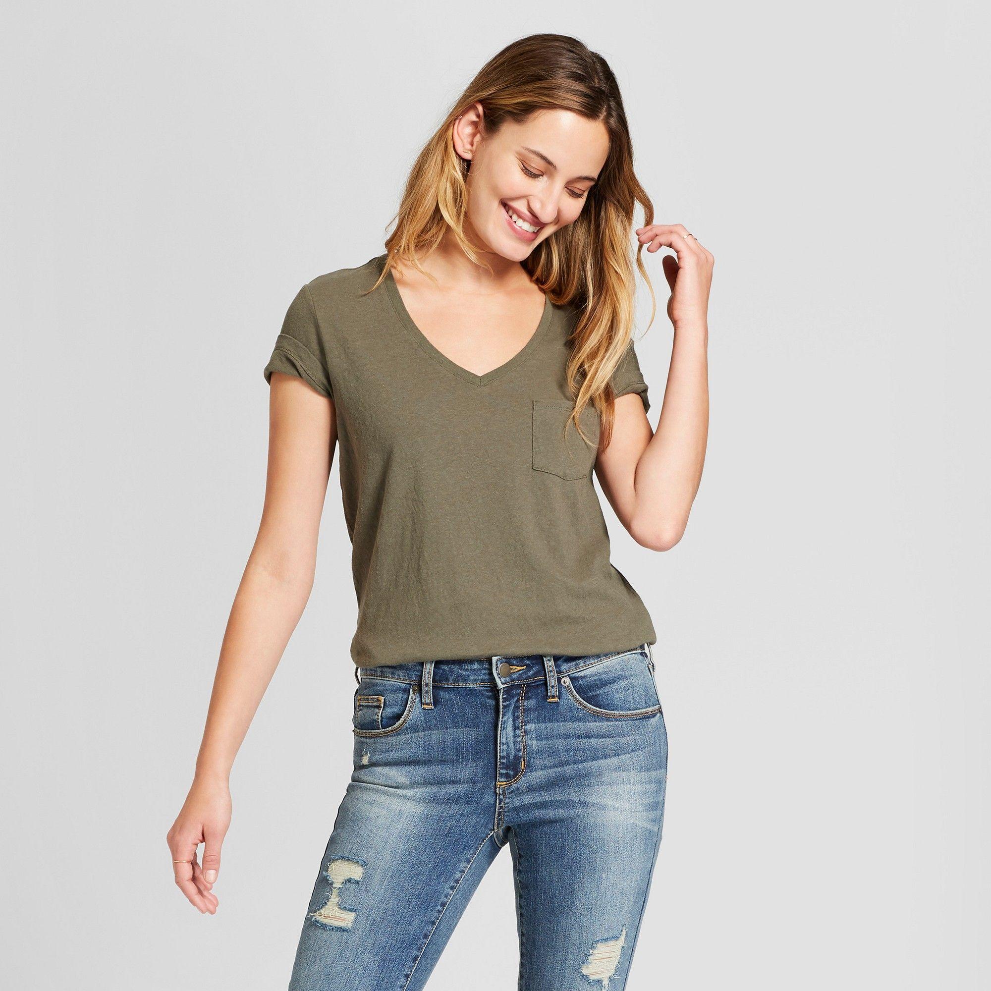 844db86ceac51b Women's Monterey Pocket V-Neck Short Sleeve T-Shirt - Universal Thread  Olive (Green) L