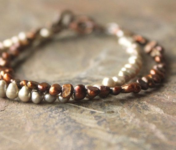 Tiny Pearl Bracelets small stacking bracelet simple by acanthusjd, $34.00