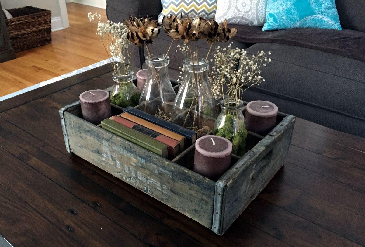 Journal Crate Decor Coffee Table Centerpieces Decor [ 813 x 1200 Pixel ]
