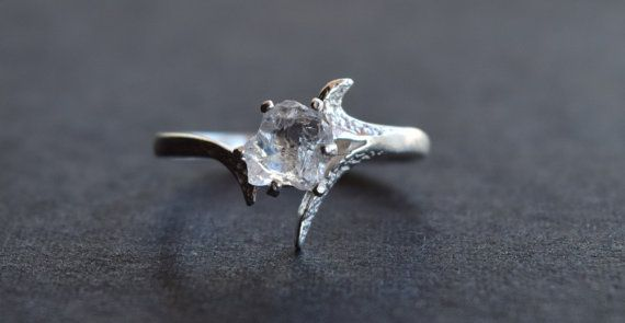 A completely raw and uncut, fresh from the earth Lake County Diamond ring set in solid sterling silver. Ring Size: 7  Can be resized up to 7.5    Stone