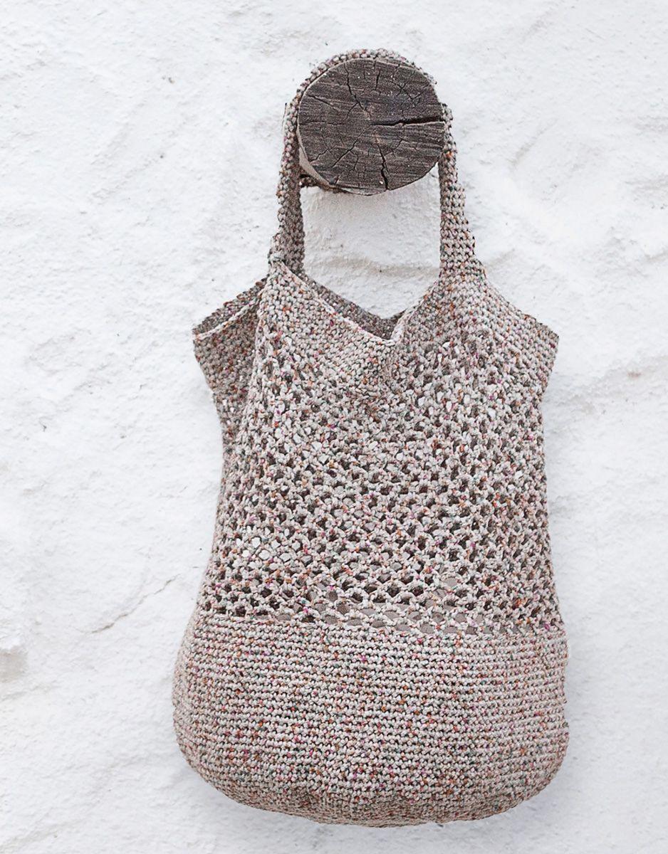 Photo of Lana Grossa TASCHE MIT FESTEN MASCHEN UND NETZMUSTER About Berlin Sparkly – FILATI Handstrick No. 71 – Modell 42 | FILATI.cc Onlineshop