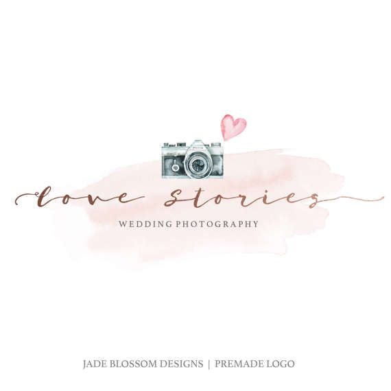 Premade logo watercolor logo camera watercolour handmade logo premade logo watercolor logo camera watercolour handmade logo watermark heart feminine logo rosegold reheart Gallery