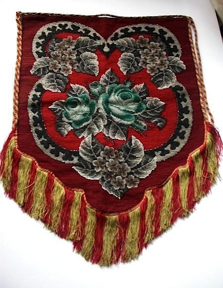 LOVELY ANTIQUE VICTORIAN TAPESTRY AND BEADWORK BANNER