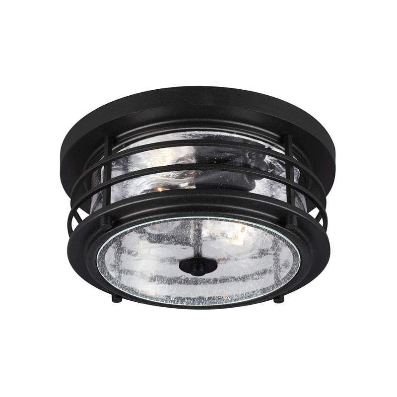 Sea Gull Lighting 7824402 Sauganash 2 Light Outdoor Flush Mount Ceiling Fixture Black Outdoor Lighting Ceiling Fixtures Flush Mount