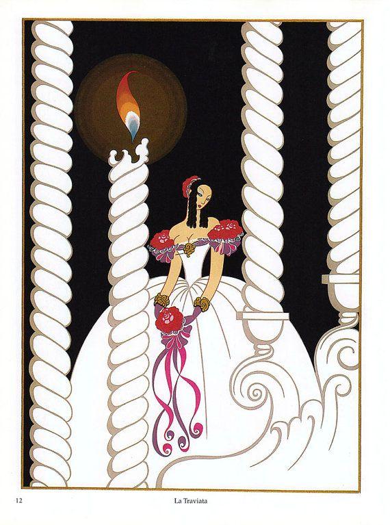 Vintage Erte Illustrated Print  La Traviata & by vintagegoodness, $9.95