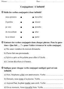 CE1 - L'infinitif du verbe - fiche d'exercices | Fiches L ...