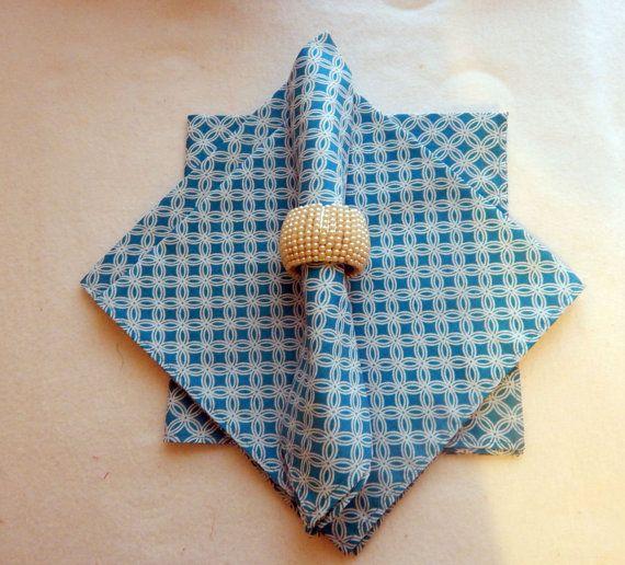 Set of 4 Blue cloth napkins by QuiltsbyLaTanya on Etsy, $20.50
