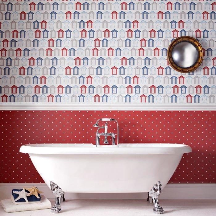 Papier peint Bord de mer Rouge / Bleu / Blanc par Graham and Brown ...