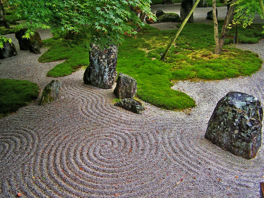 The japanese rock garden or zen garden creates a for Japanese zen garden