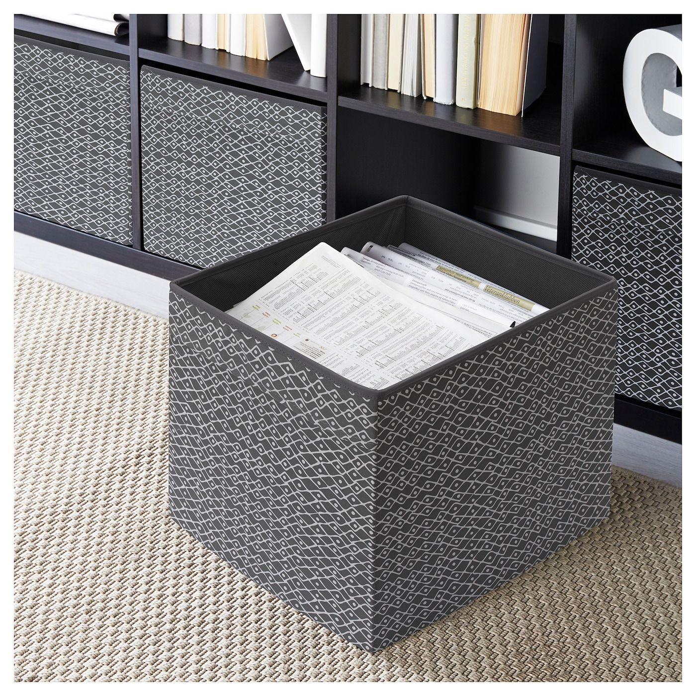 Drona Box Grey White Patterned Ikea Ikea Storage Boxes Kallax Shelving Unit White Storage [ 1400 x 1400 Pixel ]