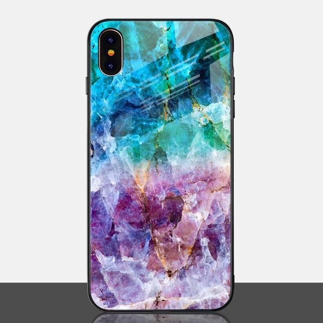 Cool Marble Phone Case for iPhone X Xs Max XR Blue phone