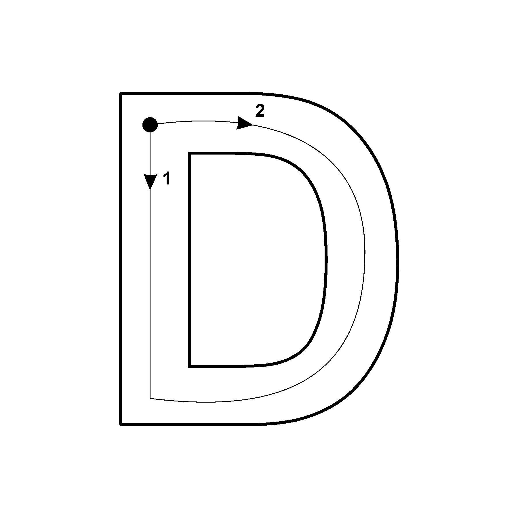 Capital Letter D With Arrow