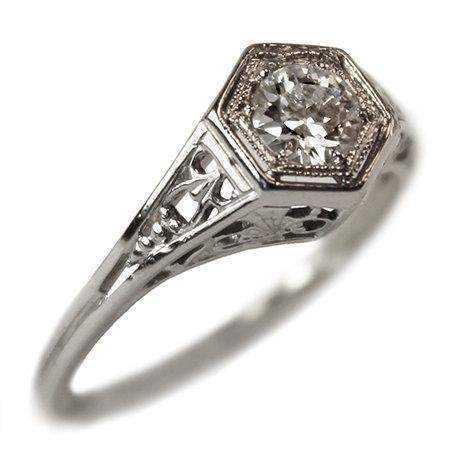 Bernadette Diamond Vintage Engagement Ring circa by TurtleLoveCo, $1,530.00