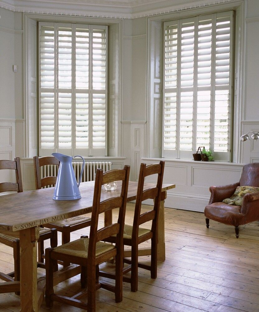 Kitchen with no window  i love shutters privacy and light control without the heaviness of