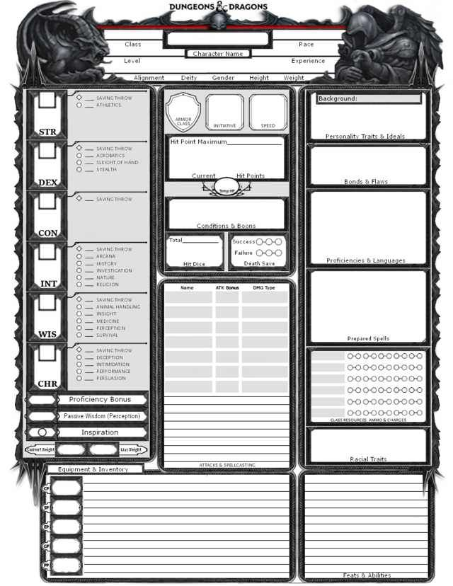 Divine image with regard to 5e printable character sheet