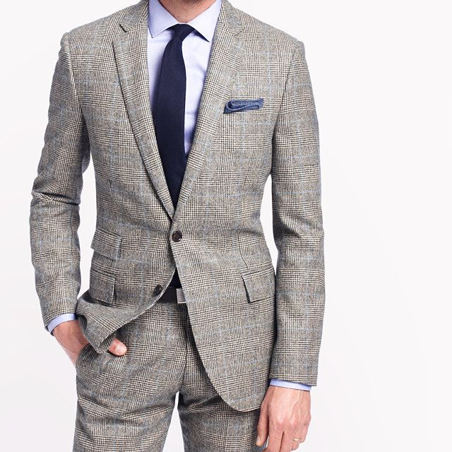 J.Crew Ludlow in Prince of Wales Glenn Plaid Check, notice the ticket pocket