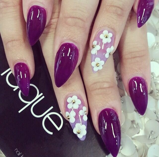 not a big fan of the pointed nails but love the color - Pointy Nail Design Nails Pinterest Pointy Nails, Nail Nail And